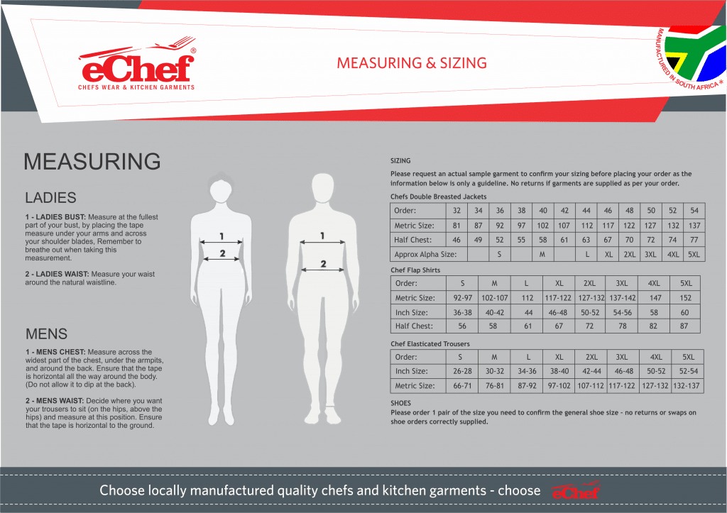 echef measuring and sizing 2019