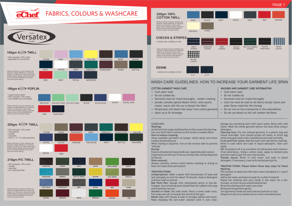 eChef fabrics and colours 2019